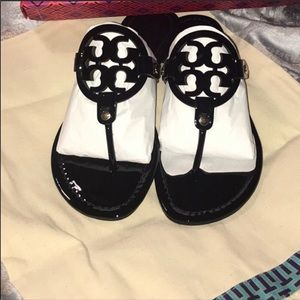 MILLER Tory Burch black patent leather sandals